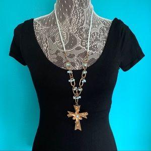 Plunder Design mint necklace w/ gold 3D Cross
